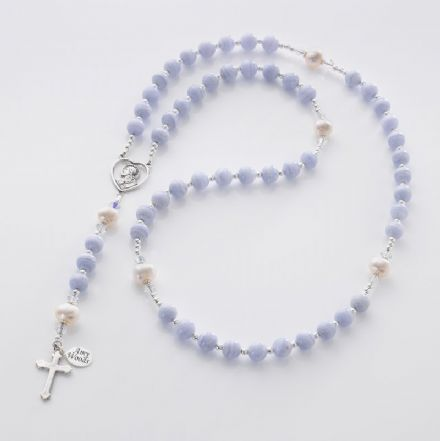 Personalised Rosary Agate & Pearl, Sterling Silver